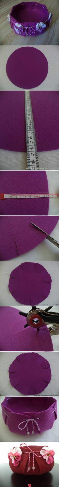 felt basket w/floral ribbon accents (photo tutorial)