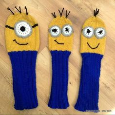 Items similar to Minion Golf Club Covers (hand-knitted) on Etsy Golf Club Covers, Golf Clubs, Minions, Hand Knitting, My Heart, All Things, Buy And Sell, Textiles, Hands