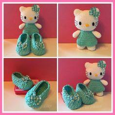 carmenatelier: ♥ Hello Kitty sonajero Amigurumi y bailarinas - Hello Kitty Amigurumi rattle and Mary Janes