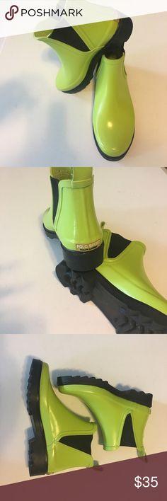 Polo Sport  Ralph Lauren Rainboots Adorable neon green rubber Ankle rainboots by Ralph Lauren. Pull-on tabs. Never worn, super stylish! Polo by Ralph Lauren Shoes Winter & Rain Boots