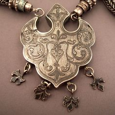 Dagestan | Detail from a silver and niello pendant necklace