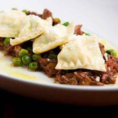 Chefs' favorite restaurant dishes | Ricotta, Pea, and Mint Agnolotti with Braised Lamb Cheeks | Sunset.com