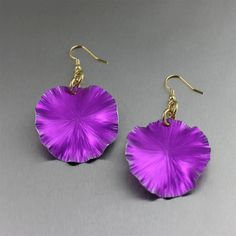 Violet Anodized Aluminum Lily Pad Earrings by johnsbrana on Etsy, $40.00