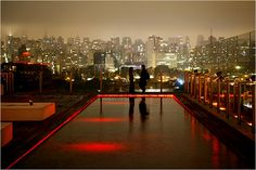 Rooftop bar at Unique, a chic hotel in São Paulo...I would love to see this in person!