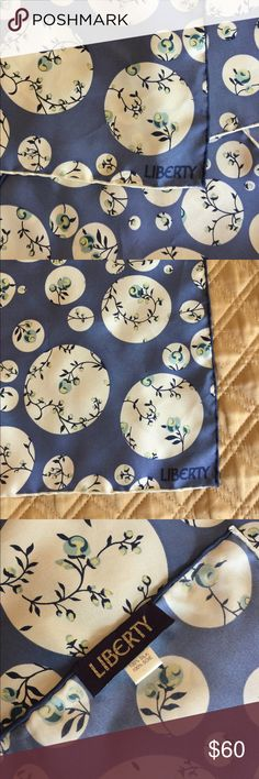 Liberty London silk scarf Liberty London silk scarf in GREAT condition, clean no holes or tears. Hand rolled hem and has a pull..on intersecting corner pictured, however due to the well made structure of this scarf it does not affect the integrity of the weave. Thick well made 100% scarf. Pls ask all questions prior to purchase. Reasonable offers are welcome 😊 LIBERTY London Accessories Scarves & Wraps