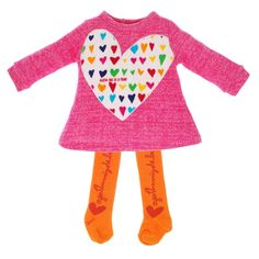 AGATHA RUIZ DE LA PRADA Pink Heart Jersey Dress with Orange Tights