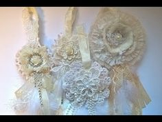 Tutorial shabby chic doily flower ornaments - YouTube