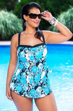 The Fine Romance Bandeau Sarong 1 Pc Swimsuit #4GJ31 by Maxine is a class act with its sarong front, bandeau top & oriental inspired, tri colored print with metallic foil accent.  The adjustable st