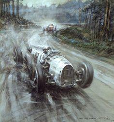 Bernd Rosemeyer, European Champion 1936, driving the winning Auto Union in the 1936 Eiffelrennen at Nurberg Ring