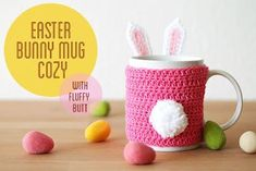 Free Easter bunny mug cozy crochet pattern Easter Bunny Crochet Pattern, Crochet Rabbit, Crochet Mug Cozy, Cute Crochet, Crochet Stars, Easter Garland, Easter Table Decorations, Holiday Decorations, All You Need Is