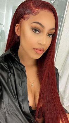 Burgundy Hair Black Girl, Hair Color Blue, Green Hair, Blue Hair, Pelo Color Vino, Hair Colorful, Front Hair Styles, Medium Short Hair, Baddie Hairstyles