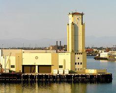 The art deco style Berth 153 warehousing facility at the Port of Los Angeles at San Pedro.