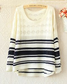 A 082903 u Hit The Color Long-Sleeved Striped Sweater Hollow