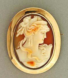 Hand Carved Shell Cameo Pendant/Brooch Of A Woman's Profile In Old Style Dress And Hair Style, Mounted In A 14k Yellow Gold Hand Made Frame