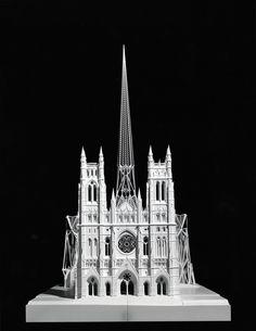 Cathedral St. John the Divine, New York, 1991. Model, front view (scale 1:100). Wood, Plexiglas, Polystyrene, metal, 214/120/220 cm. Property of Studio Calatrava © Santiago Calatrava