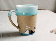 Animal Fish Sea Ocean Blue Whale Mug Ceramic Cup Milk Tea Sagging ...