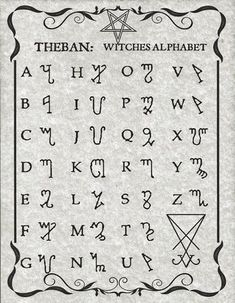 The Witches Alphabet known as Theban, presented here in Luciferian style on 8 x 11 parchment paper with sleeve. Alphabet Code, Sign Language Alphabet, Alphabet Symbols, Phonetic Alphabet, Tattoo Alphabet, Kids Alphabet, Alphabet Print, Graffiti Alphabet, Witch Symbols