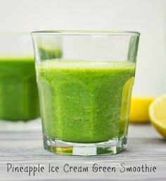 This delicious #pineapple #icecream #green #smoothie is so mouth watering and completely UN-kale-tasting!