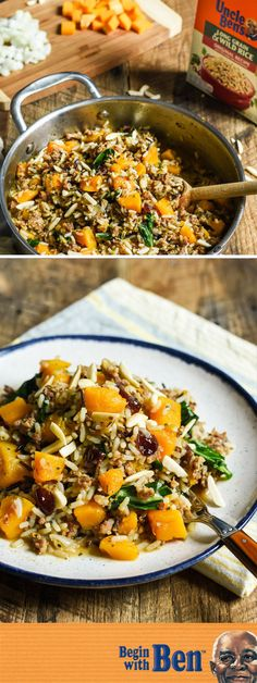 Plate up this dish for Skillet Sausage and Wild Rice with Butternut Squash and Cranberries for a simple and delicious dinner idea. Made with Uncle Ben's®️️ Long Grain & Wild Original Recipe, it's easy to bring classic, savory flavor to the table. Wild Rice Recipes, Sausage Recipes, Pork Recipes, Paleo Recipes, Crockpot Recipes, Dinner Recipes, Cooking Recipes, Dinner Ideas, Weekly Recipes