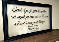 Parents Thank You Wedding Gift, Parents of the Groom Gift, Mother of ...