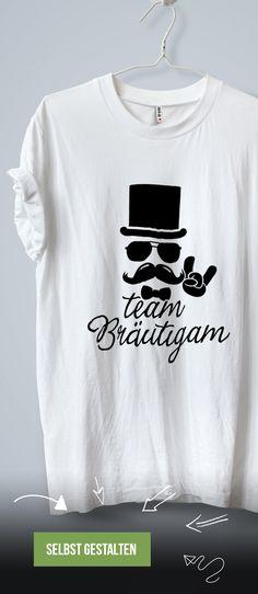 Einheitliche Team Bräutigam T-Shirts zum Junggesellenabschied gestalten und bestellen.