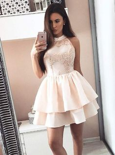 A-Line Round Neck Pearl Pink Tiered Homecoming Dress with Appliques