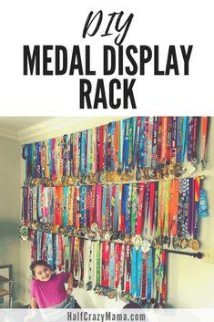 Medal Display Rack That Is Affordable, Practical, and Easy To Make Runner Medal Display, Medal Display Case, Race Medal Displays, Trophy Display, Award Display, Display Medals, Trophy Shelf, Medal Rack, Medal Hangers