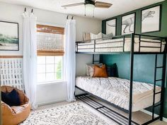Boy And Girl Shared Bedroom, Shared Boys Rooms, Kids Bedroom Boys, Kids Room, Green Boys Room, Bedroom Green, Royal Room, Bunk Beds Boys, Feature Wall Bedroom