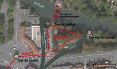 POITIERS - Cette vue aérienne matérialise (en rouge) le rempart dont faisait partie la Tour du Cordier, et l'emplacement supposé de l'ancien château triangulaire. Il était situé entre les bras de la Boivre (aujourd'hui canalisée en souterrain) à sa confluence avec le Clain.