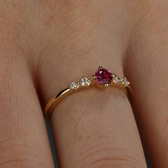 Rose Gold ruby engagement Ring diamond Unique delicate matching simple jewelry women Anniversary Bridal set gift for her Promise ring Ruby Wedding Rings, Rose Gold Engagement Ring, Vintage Engagement Rings, Diamond Wedding Bands, Vintage Rings, Gold Bangles Design, Gold Earrings Designs, Gold Jewellery Design, Gold Rings Jewelry
