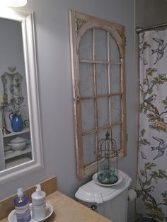 Salvaged old window used in a bathroom