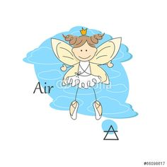 Vector: Cute little fairy of air . One of the four elements