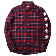 Uniform Experiment UE 5 Star Button Up Plaid Shirt (Red/Navy) Star Buttons, Streetwear Shop, Experiment, Red And Blue, Button Up Shirts, Street Wear, Men Casual, Plaid, Street Style