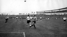 West Germany 3 Argentina 1 in 1958 in Malmo. Argentina attack the Germans early on in Group 1 at the World Cup Finals.