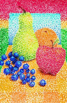 pointillism for 3rd and 4th graders. Third and Fourth Grade pointillism project. Still life.