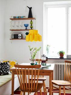 esszimmer einrichten hängeleuchten pendelleuchten gelb