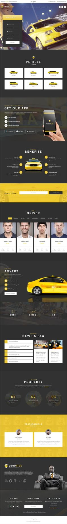 Good Ride is clean and modern design responsive #WordPress theme for #taxi company & #cab services website download now..