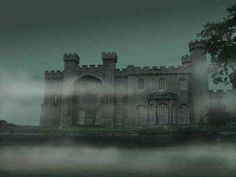 Spooky castle at night