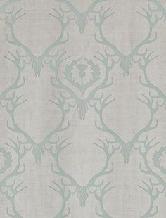 Deer Damask Fabric A neutral linen union with a duck egg design of stag head and antlers with leaf and thistle design