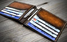 Leather Money Clip Wallet. Mens Leather Clip Wallet. by Odorizzi