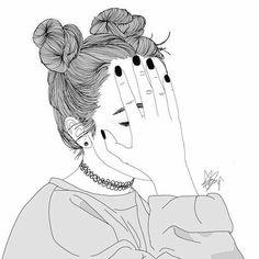 Dessin Noir et Blanc Tumblr Girl Drawing, Tumblr Sketches, Girl Drawing Sketches, Girly Drawings, Outline Drawings, Girl Sketch, Pencil Art Drawings, Girl Cartoon, Cartoon Art