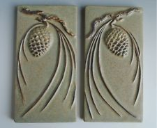 2 ARTS AND CRAFTS STYLE TILES RELIEF PINE CONES