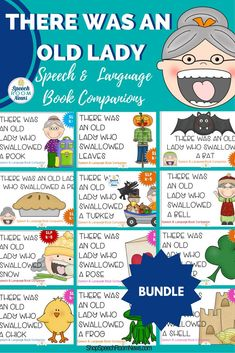 Speech Room News's Old Lady Bundles are everything you need for speech therapy. Just add the book!