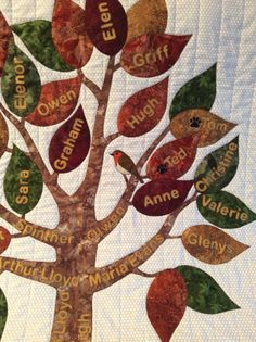 close up of family tree quilt