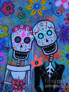 Til Death Do Us Part  Wedding te Amo Original Painting.  Dia de los Muertos, Day of the Dead, FRIDA, FRIDA KAHLO, DAY OF THE DEAD, DIA DE LOS MUERTOS, SKULL, SKELETON, FOLK ART, MEXICAN, MEXICAN PAINTINGS, DOG PAINTINGS, FLORALS, FLOWERS, WHIMSICAL, PRISTINE CARTERA-TURKUS, PRISARTS, OUTSIDER ART, BRUT ART, FLORALS, CAT, GATO, EL GATO, Lovers, for sale