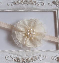 Headband With Lace Flower In Cream, Off White For Baby, Girl  H-038-02