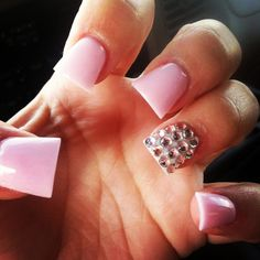 Pink acrylic with bling nails