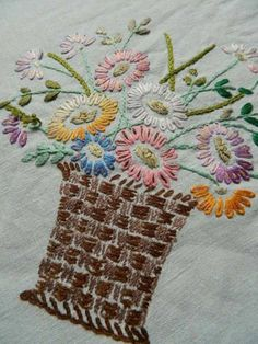 Vintage Irish Linen Tablecloth Flower Baskets Hand Embroidery Design