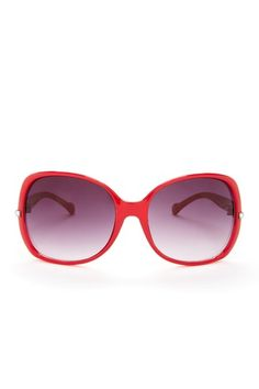 Oval Metal Temple Design Red Sunglasses by Jessica Simpson Sunglasses
