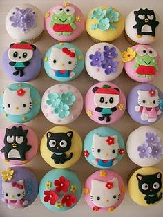 Hello Kitty & Friends    just another version of my hello kitty & friends cupcakes, this time with applepanda :)  All the toppers are hand made with fondant